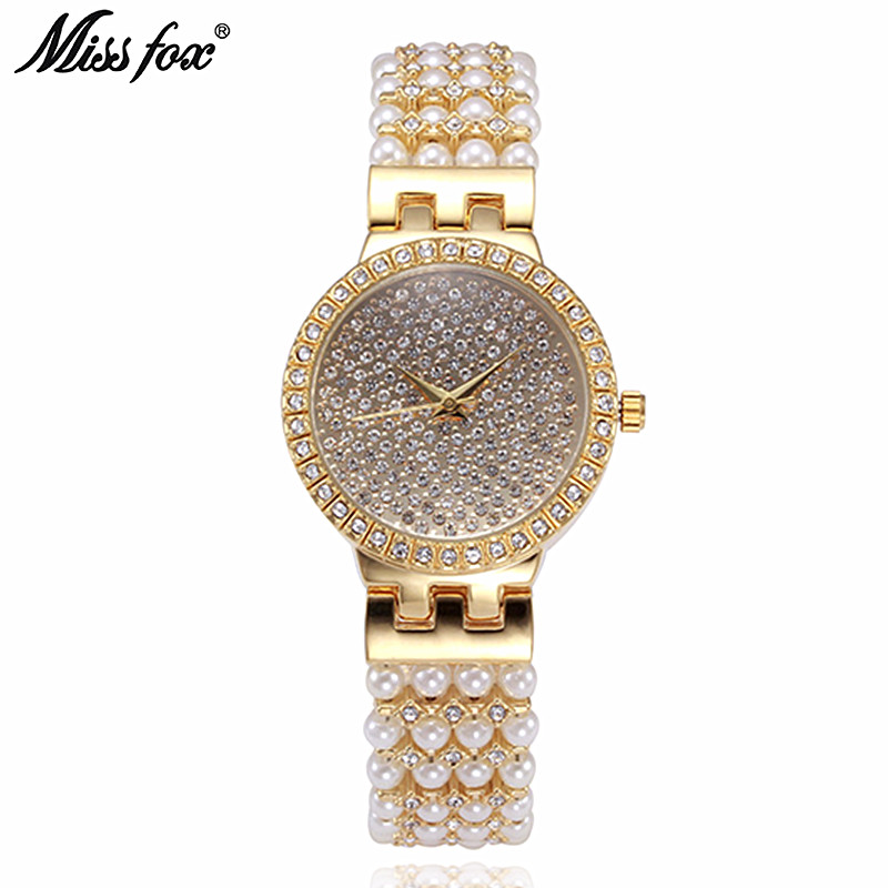 Famous Brand Luxury Jewelry Pearl Watches Fashion Golden Lad