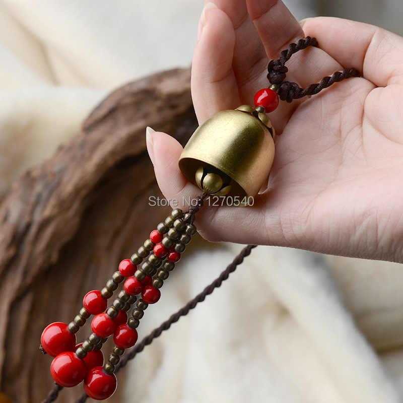 אדום אבנים אבנים תאילנד תכשיטי ארוך אתני שרשרת, חדש בציר תכשיטי מתכת פעמון מסורתי טיבטי ציצית שרשרת