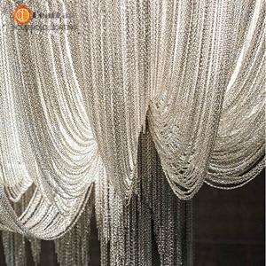 Image 3 - Modern Style Silver Cloth Art Pendant Lamp Engineering Design Luxury Chain Tassel Aluminum Chain LED Pendant Lights(CQ 50)