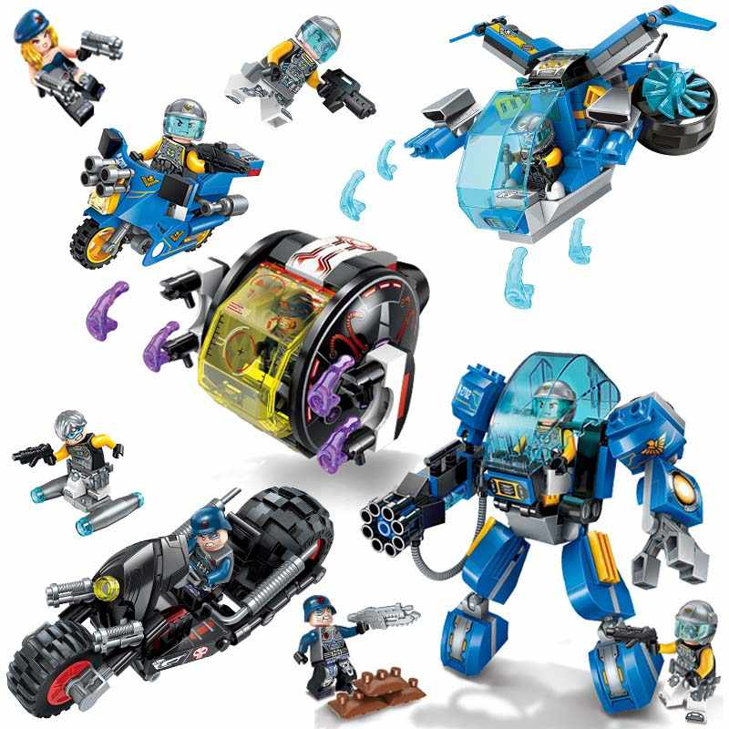 470 pcs Assembled Sets Building Blocks Star Wars Space Mech Fighter Motorcycle Boy Gift