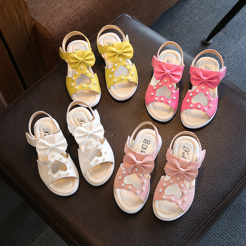 Girl Children Leather Sandals B03012 New Sandals Kids Summer Girls Shoes Bow&Dot Child Sandals White&Yellow&Pink&Red Shoes Girls