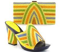 New Charming Italienische Schuhe Mit Passenden Taschen Strass Sandale Hohe Qualität African Schuhe Und Taschen Für Hochzeit TH07