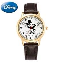 Mickey mouse cuarzo reloj de pulsera de cuero de los hombres Jóvenes de Moda Estudiante adolescente clásico reloj Top marca DISNEY 11027 Buen regalo