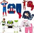 Розничная дети хлопка мультфильм капитан америка железный человек паук - человек пижамы мальчиков пижамы дети базз лайтер установленные одежды
