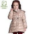 Pcora crianças meninas para baixo casacos de inverno de espessura rosa/cáqui parkas lolita cinto ajustável tampa destacável outerwear jaquetas meninas