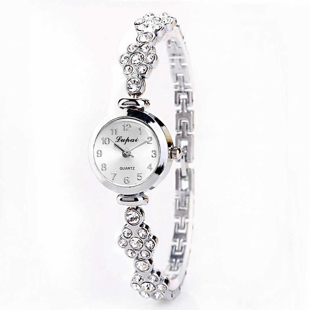 Relojes de lujo a la moda para mujer, reloj de cuarzo de muñeca para mujeres, reloj de pulsera con diamantes de cristal, pulsera de joyería, reloj de mujer L58