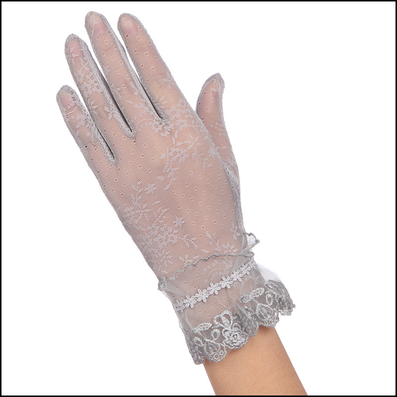 Sexy Spring Summer Female UV Sunscreen Short Sun Touch Screen Gloves Fashion Women Thin Ice Silk Lace Pearl Driving Gloves 03