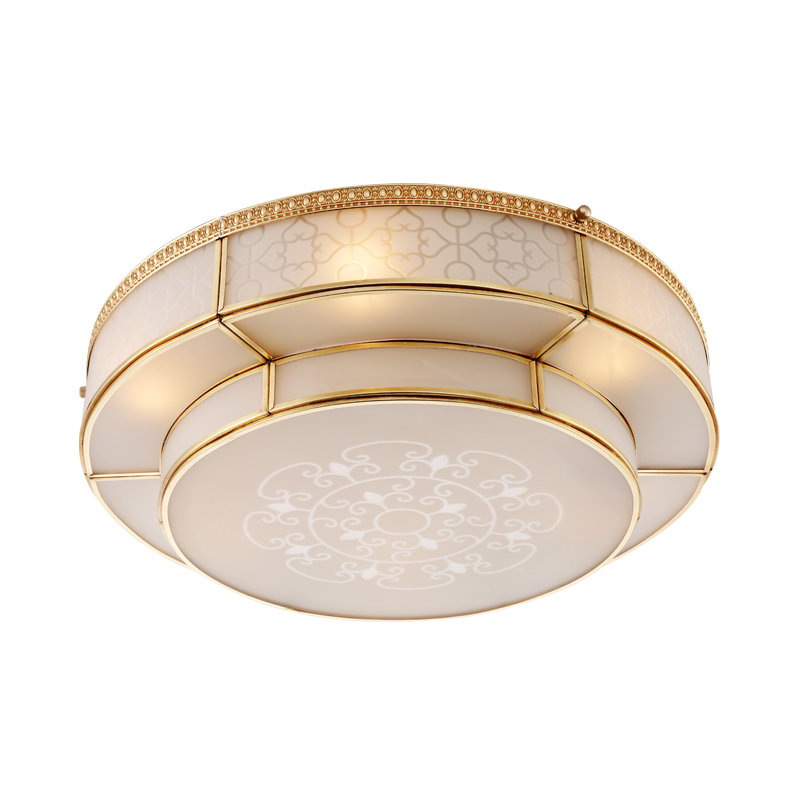 Vintage  Painting Metal Round Foyer E27 Ceiling Light Dia405262cm  Copper glass Bedroom LED Ceiling Lamp