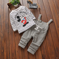 2pcs/sets Baby's Sets Spring Baby Boys Girls Long Sleeve T-shirt + Striped Braces Suits Cartoon Tees + Overalls 0-3T Children