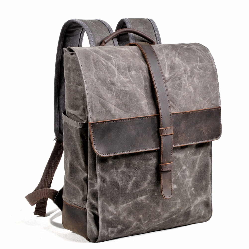 New Canvas Leather Backpack Traveling Bags For Men Large Capacity Vintage Rucksacks Teenagers Waterproof School Bag mochilasNew Canvas Leather Backpack Traveling Bags For Men Large Capacity Vintage Rucksacks Teenagers Waterproof School Bag mochilas