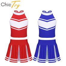 ChicTry Kids Girls Sleeveless Crop Tops with Pleated Skirt Set Children Stage Performance Jazz Dance School Cheerleader Costume(China)