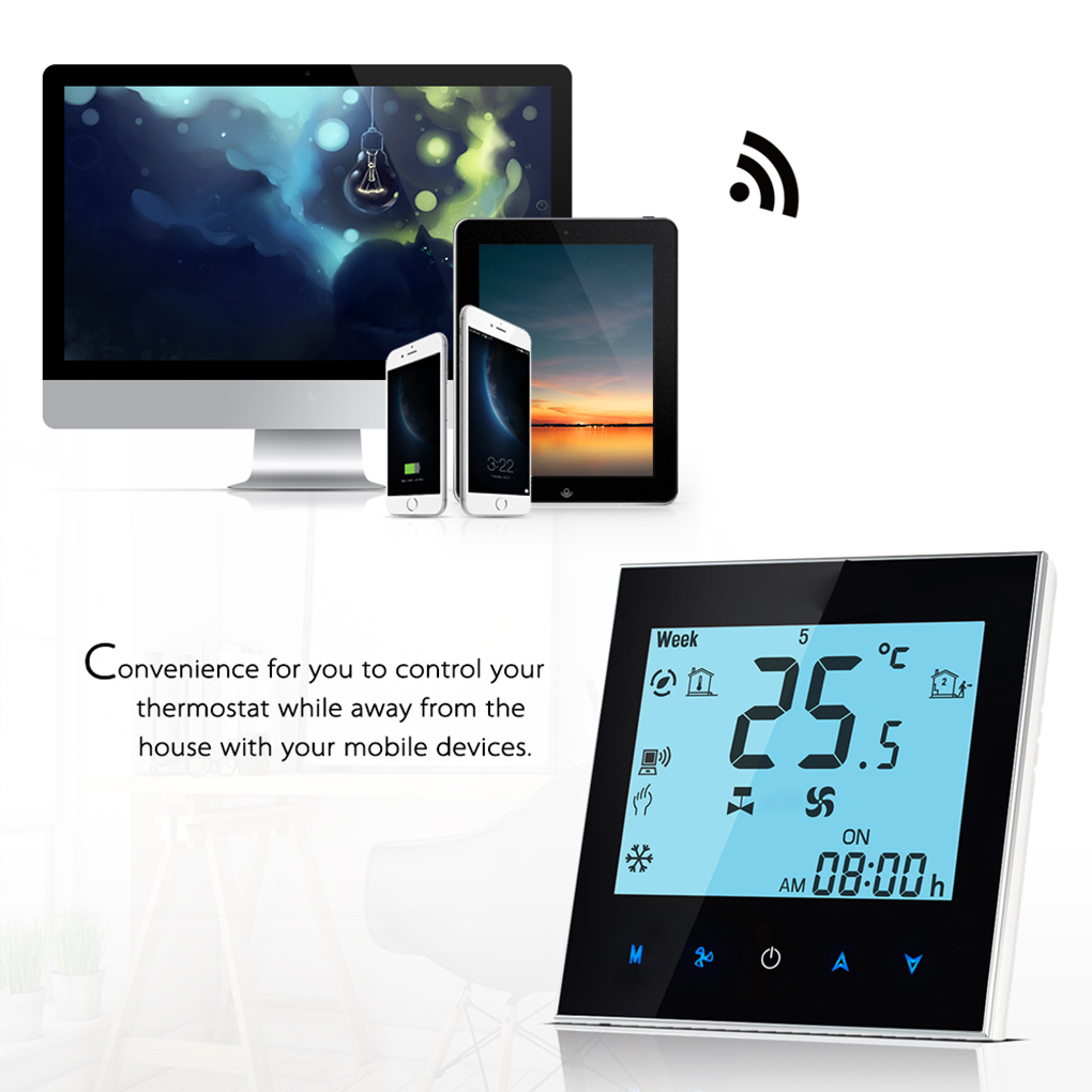 WiFi Remote Control Central Air Conditioner Temperature Controller 2 Pipe Programmable Thermostat LCD Touchscreen eache 20mm 22mm genuine leather watchband with retro matte leather watch band crazy horse watch strap quick release spring bar
