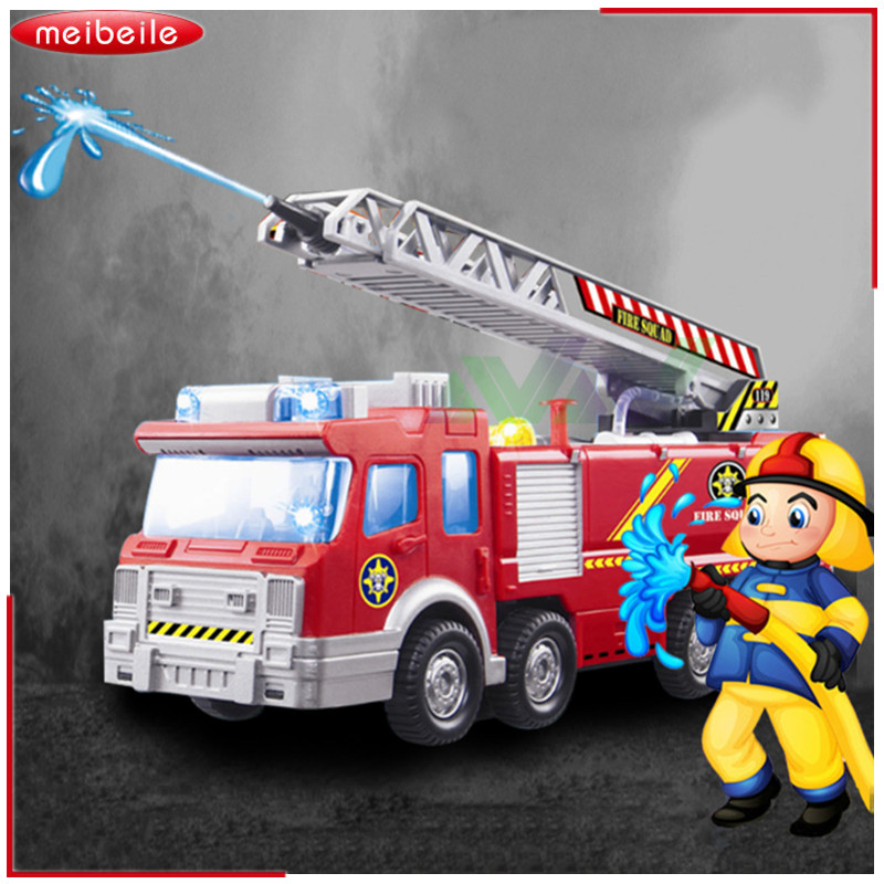 Spray Water Gun Toy Truck Firetruck Juguetes Brandman Sam Fire Truck / Motorfordon Bil Musik Lätt Educational Leksaker för Boy Kids