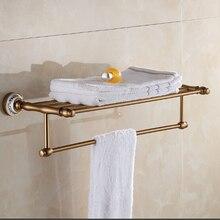 Пространство алюминия ванной вешалка для полотенец ванной полотенце держатель Античный Двойная полка для полотенец
