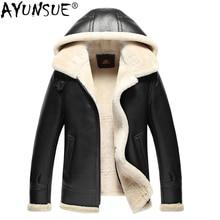 AYUNSUE, натуральная кожа, мужская куртка, зимняя куртка из короткой овечьей шерсти, мужская куртка из овчины, куртка Авиатор В3, 17-7009, KJ1125