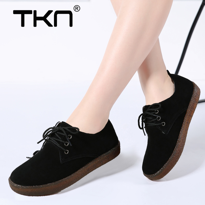 TKN 2019 Spring women sneakers oxford shoes casual flats shoes women   leather     suede   boat shoes round toe flats moccasins 808