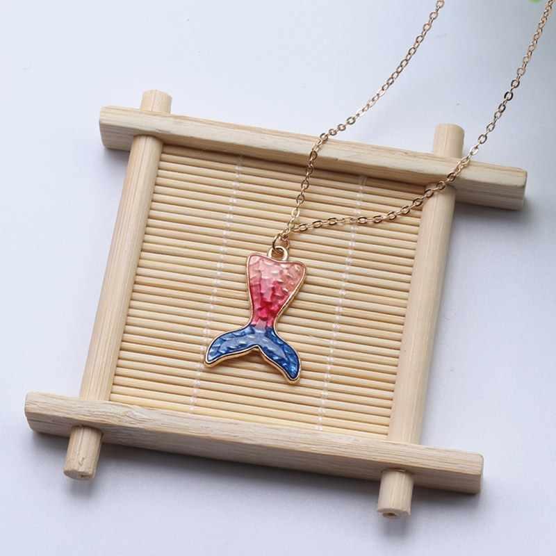 Mermaid จี้สร้อยคอผู้หญิงเคลือบสีสันปลาสร้อยคอแฟชั่นเครื่องประดับยาว Chain Statement สร้อยคอที่เรียบง่าย