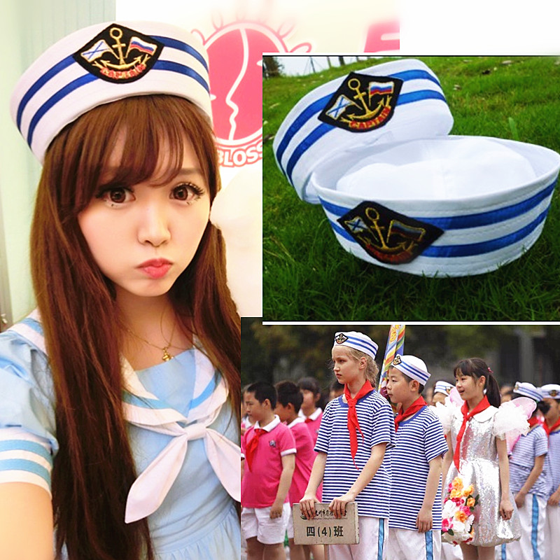 Military Hats Sailors Captain White Hat Navy Marine Cap With Anchor Sea Boating Nautical Fancy Dress Nurse Hat Cosplay Adult Kid