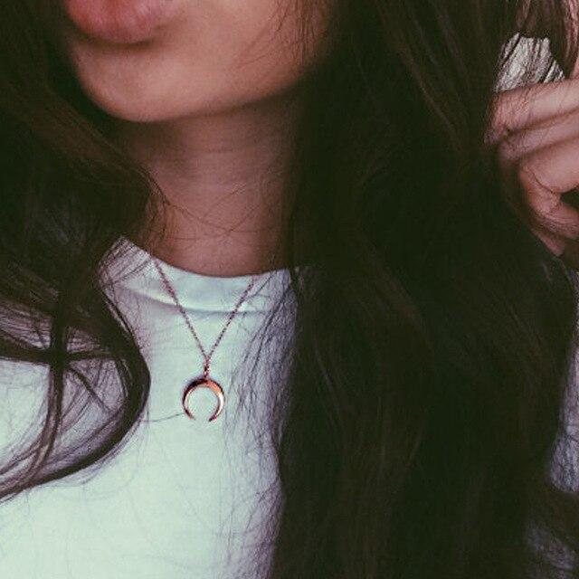 Boho Vintage Or & Argent Couleur Lune Pendentif Collier pour Femmes Corne/Croissant Choker Colliers Mode Bijoux colar collares