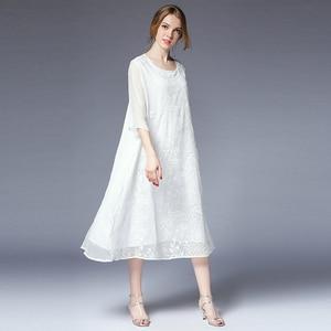 Женское шелковое платье с вышивкой размера плюс вечерние элегантные белые летние платья 2018 женские большие пляжные милые повседневные кра...