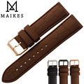 MAIKES Hot Sale Brown Men Para Silicone Rubber Watchband Rose Gold Clasp Dive Sports Sweatproof 20mm 22mm Watch Strap