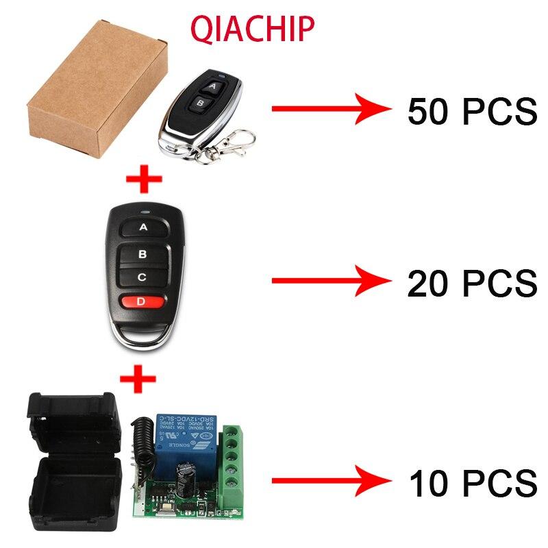 QIACHIP 50 pièces KT05-4 commutateur de télécommande + 20 pièces KT16-4 commutateur de télécommande + 10 pièces KR1201A-4 Module récepteur RF 433Mhz bricolage