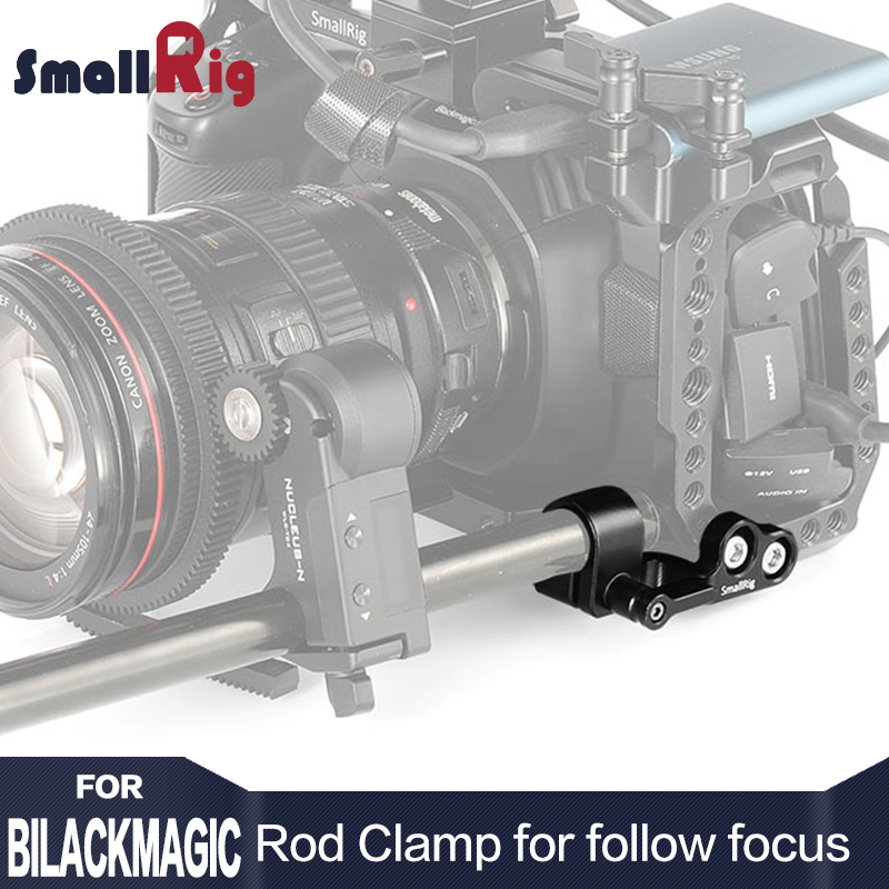 SmallRig 15mm Single Rod Clamp for BMPCC 4K Cage Designed To Mount a Follow Focus Motor like for Tilta Nucleus Nano 2279