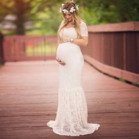 Lace Maternity Dress Gown Wedding Party Trumpet Dresses Pregnant Women Long Maxi V Neck Lace Dress