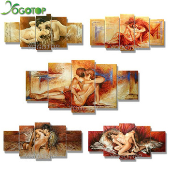 YOGOTOP DIY Diamond Painting Cross Stitch 5D Diamond Embroidery Full Diamond Mosaic Crafts Needlework Lovers kiss 5pcs/set ML041