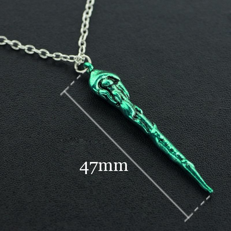 Free shipping Movie Six Phalanx hogwarts necklace Magic Wand Pendant green Necklace movie necklace wholesale