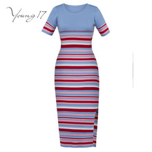 Young17 bodycon knitted dress autumn striped knitted sweater pullover dress female party sexy elegant new knitted bodycon dress