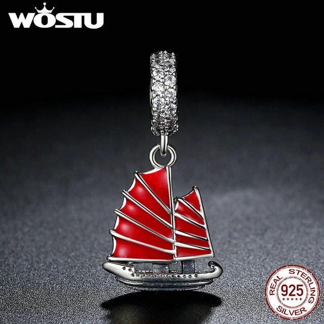 Alta Qualidade 100% 925 Sterling Silver Navio da Sucata Chinesa Dangle Charme Fit Pulseira Pandora Original Pingente Autêntica DIY Jóias