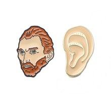 цена K57 Van Gogh Metal Enamel Pins and Brooches for Women Men Lapel pin backpack bags badge kids Gifts онлайн в 2017 году