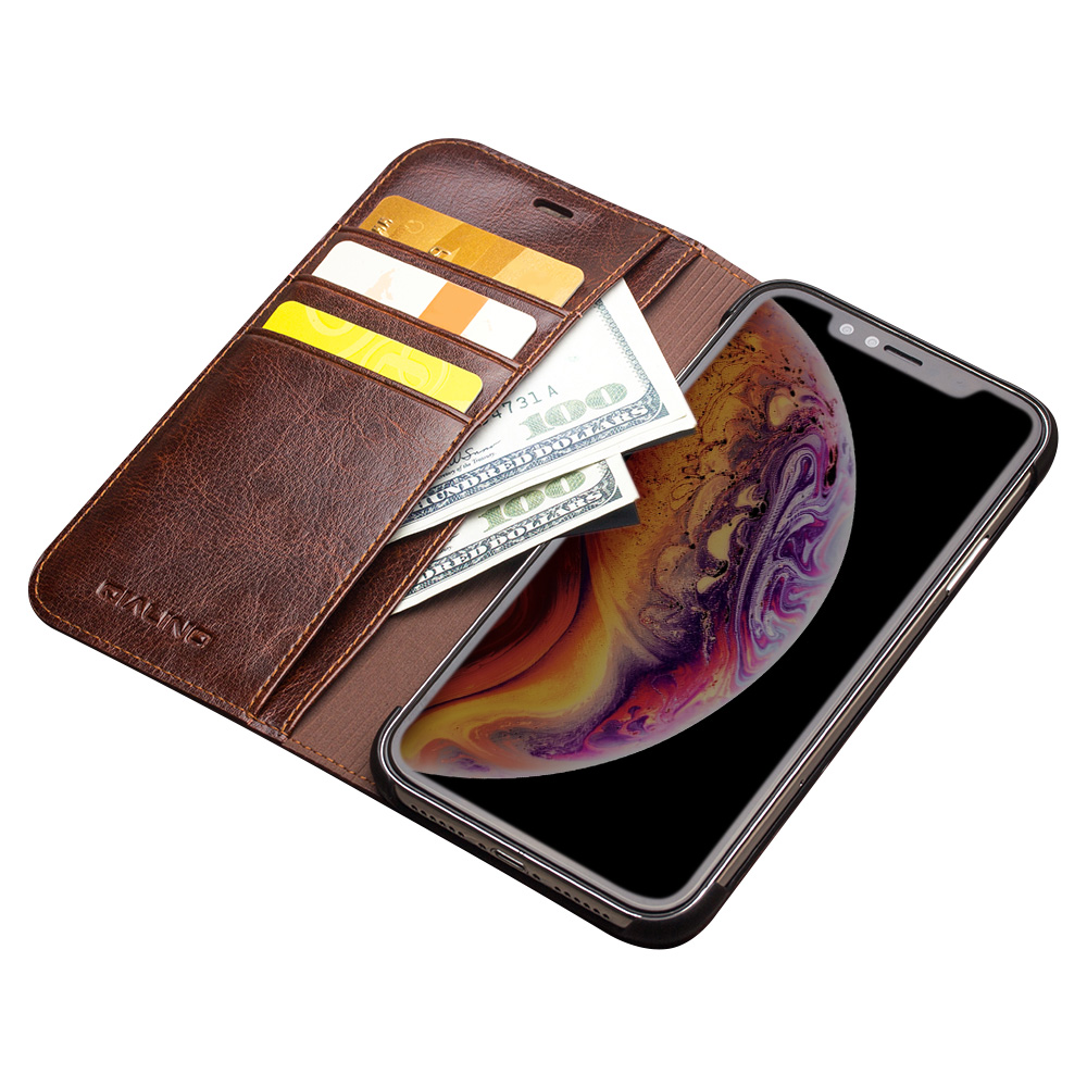 Image 4 - QIALINO Luxury Ultra Slim Phone Case for iPhone XS/XR Handmade  Genuine Leather Wallet Card Slot Bag Flip Cover for iPhone XS MaxFlip  Cases