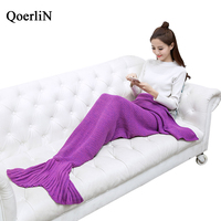QoerliN Warm Bedding Sofa Mermaid Tail Blanket Winter Knitted Christmas Crochet Throw Bed Wrap Sofa Sleeping Fashion Home Bottom