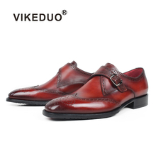 VIKEDUO Red Full Brogues Mens Leather Shoes Genuine Square Handmade Shoe Wedding Office Footwear Mans Monk Zapato