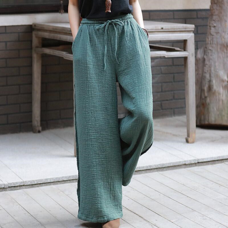 2020 Summer Women Straight Pants Casual Loose Cotton Linen Long Trousers Solid Drawstring Pants With Pocket Plus Size M-7XL
