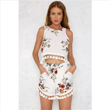 2018 Fashion Women Summer Sets 2 Pieces Clothes Set Female Floral Shorts Crop Tops S Clothing