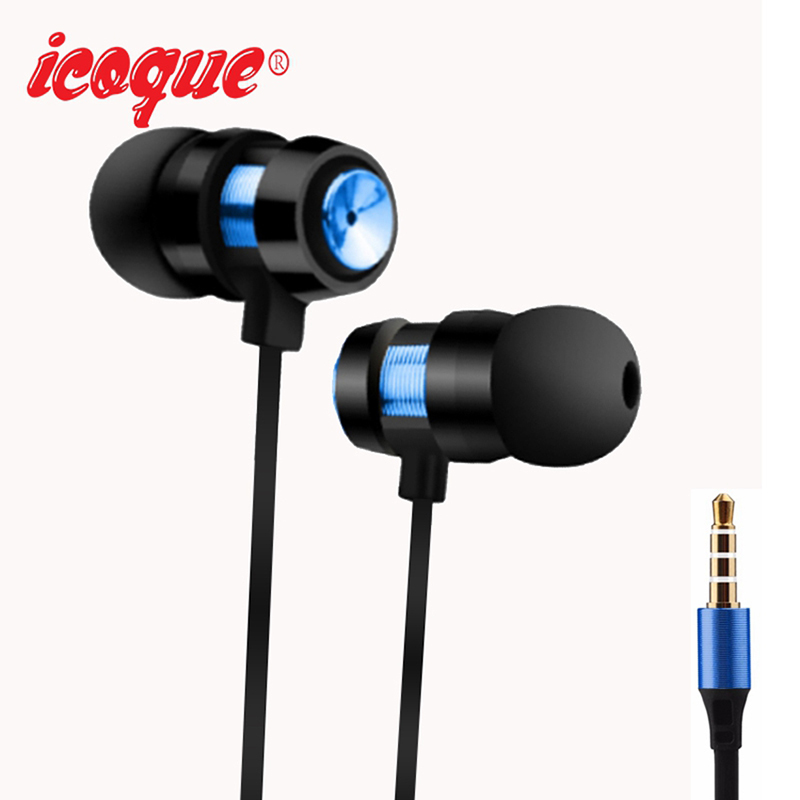 Icoque 3.5mm Stereo Bass Earphone In-Ear Sport Headphone for Sony Xaomi Xiomi Samsung Phones Mp3 Player Laptop with Mic Earphone