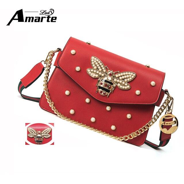 e1dee2cb01a3 Amarte Для женщин сумка с 2 сменными ремешками крышка цепи Для женщин  жемчугом Роскошные Сумки Для