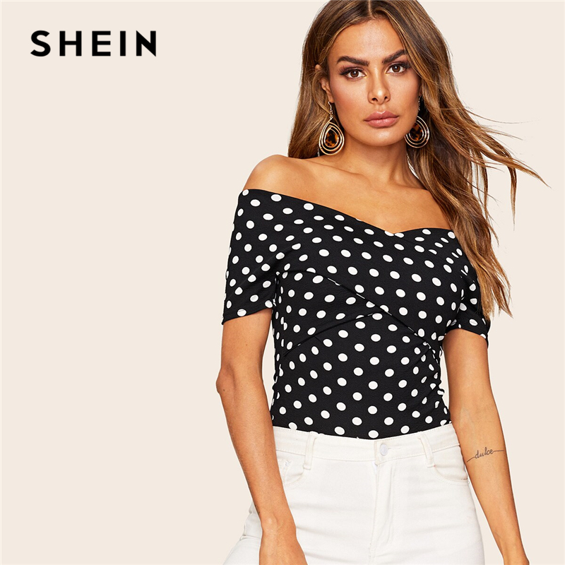 SHEIN Elegant Black Crisscross Wrap Off Shoulder Wrap Top Polka Dot T Shirt Women Summer Short Sleeve Fitted High Street Tshirts
