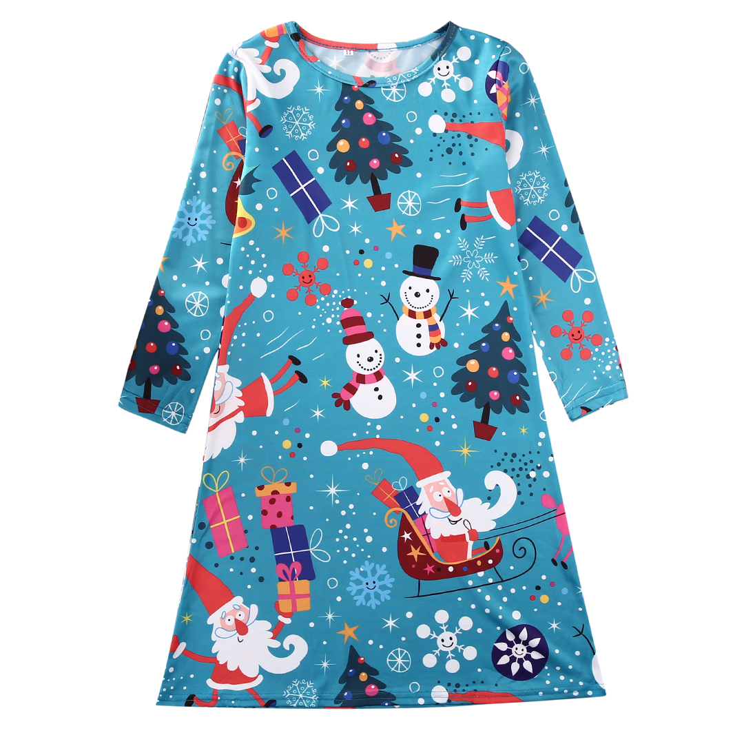 Skater dress santa snowman christmas party costume tops in dresses
