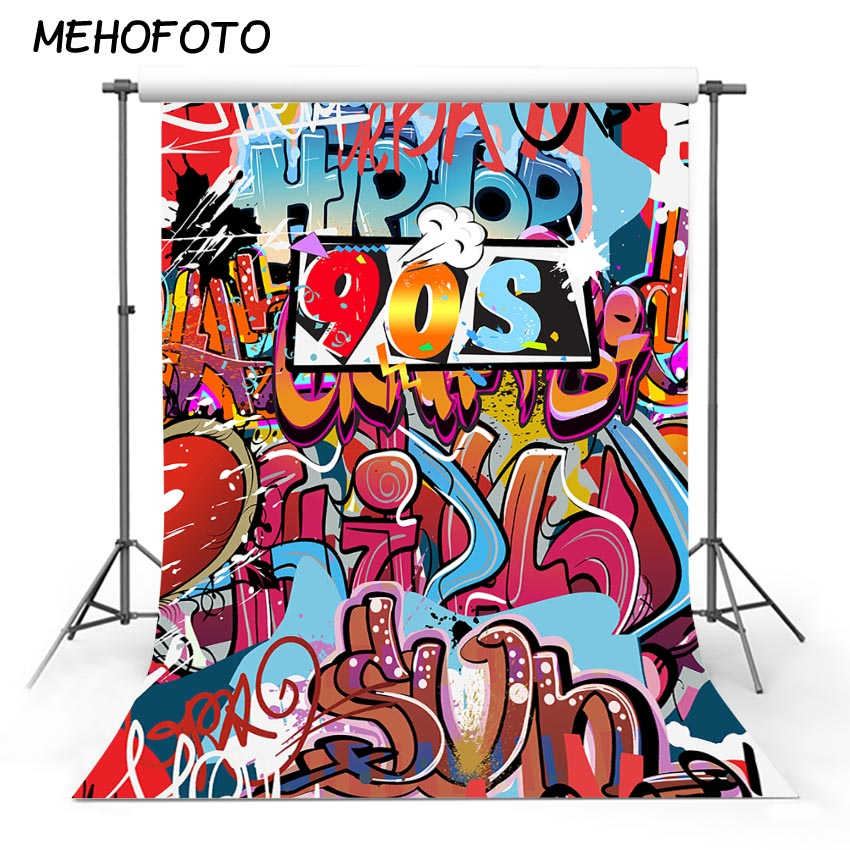 US $9 5 39% OFF|MEHOFOTO 90'S Retro Graffiti Photography Backdrops Hip hop  Theme Party Photo Background Decor Banner for Printing Backdrop-in