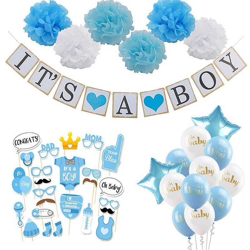 Baby Shower Boy Girl Decorations Set It's A Boy It's A Girl Oh Baby Balloons Gender Reveal Kids Birthday Party Baby Shower Gifts(China)
