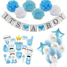 Baby Shower Boy Girl zestaw do dekoracji to chłopiec to dziewczyna oh baby balony płeć ujawnić dzieci urodziny prezenty na brzuszkowe