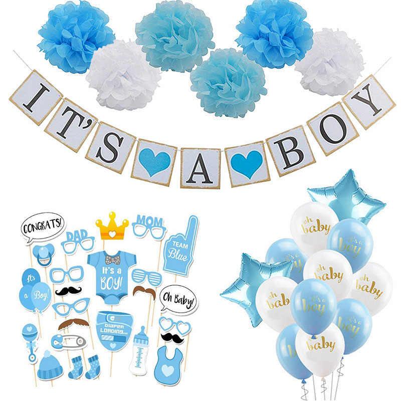 Decorações do Chuveiro de bebê Menino Menina Set é um Género Revela o Menino é uma Menina oh baby Balões Crianças festa de aniversário Presentes Do Chuveiro de Bebê