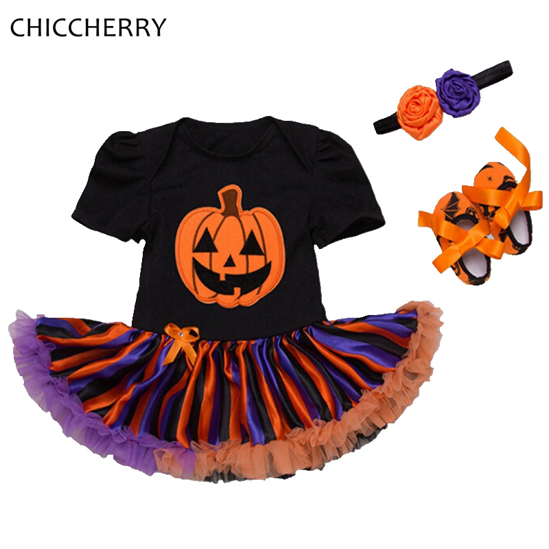 1101ee067 Baby Pumpkin Halloween Costumes Lace Romper Dress Headband Crib ...