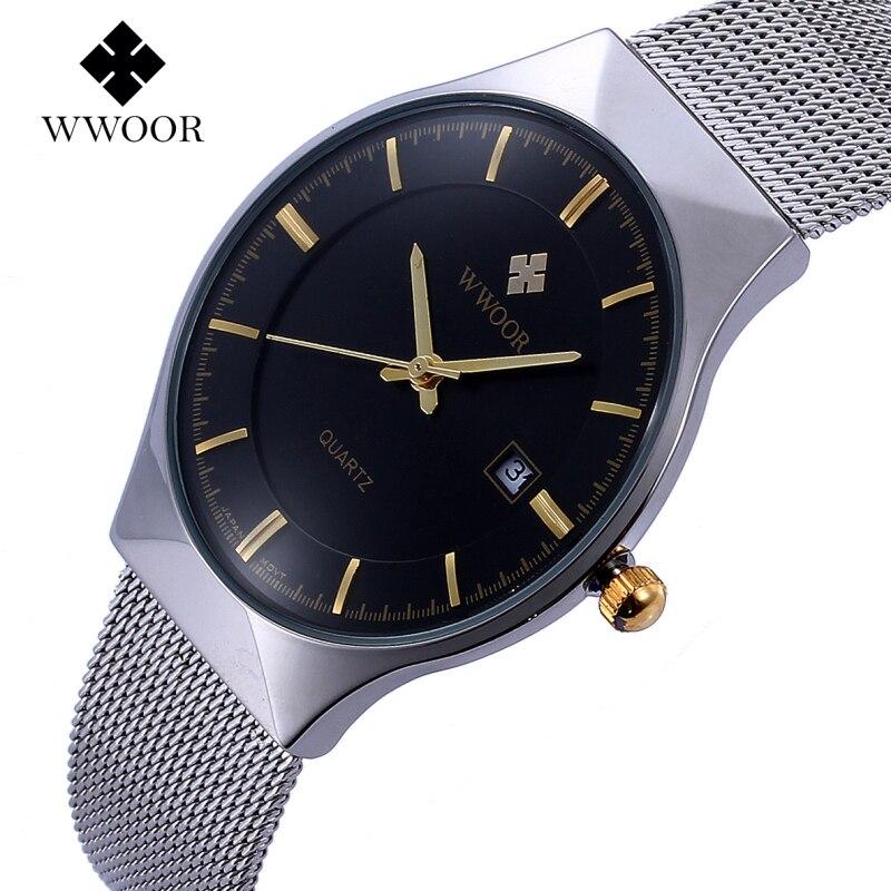 d99750196d1 WWOOR Top Marca de Luxo dos homens Relógios Em Aço Inoxidável Relógios de Quartzo  relógio de Pulso Dos Homens Ultra Fino Moda Casual Homens relógio de Pulso  ...