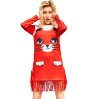 2017 Summer Dress High Quality Long Sleeve Cartoon Printing Leisure Time Personality Tassels Directly Straight Dress
