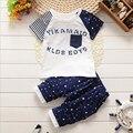 Conjuntos de ropa para niños 2016 nuevo verano niño niño trajes 2 unids patchwork de dibujos animados manga corta camiseta + de la pantorrilla-longitud de los pantalones para niños